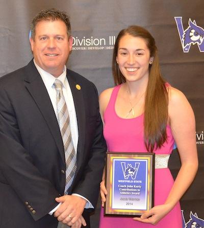 Julia Warner receives the Coach John Kurty Contributions to Athletics Award
