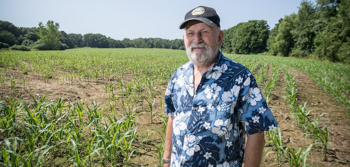 Westfield State University Alumni and donor, Gerald Davis in the field he donated to the university, July 2019