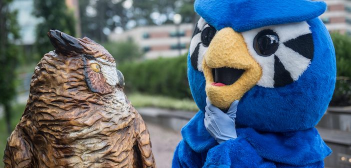 Westfield State University mascot Nestor meets a new friend on campus