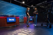 Westfield State Univedrsity students Jenna DeLisi (l) and Lauren Christian (r) on the set for As Schools Match Wits in the campus TV studio.