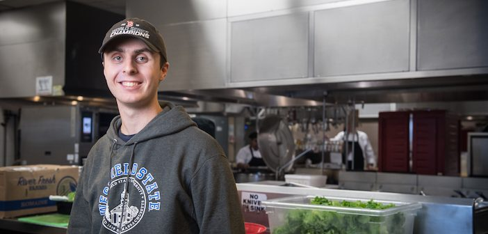 Westfield State University student Brandon Sullivan, who proposed the idea that the Dining Commons donate unused food to the non-profit organization Rachel's Table to help those in need.