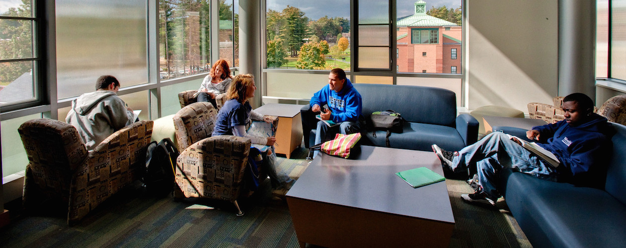 Students in study lounge