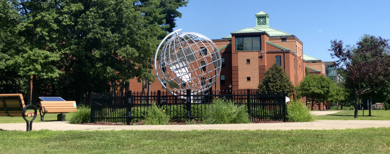 Campus shot of Globe and Courtney Hall