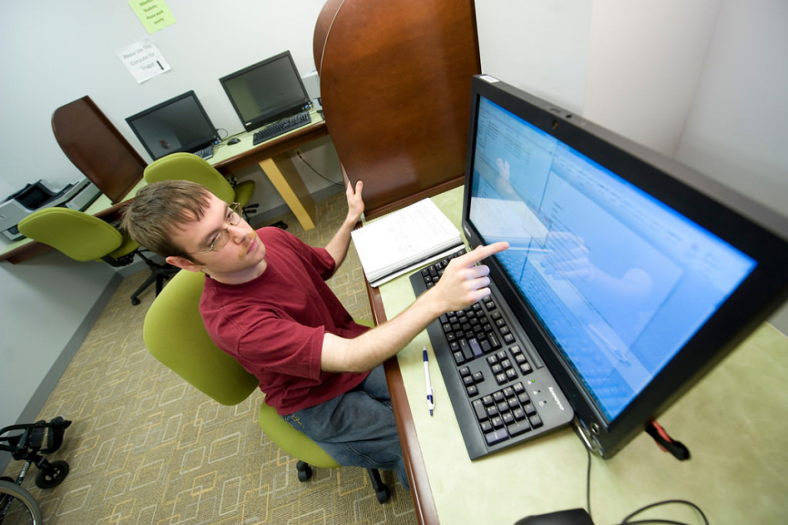 Student using assistive technology