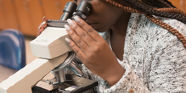 Student using microscope