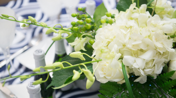 White hydrangea on banquet table