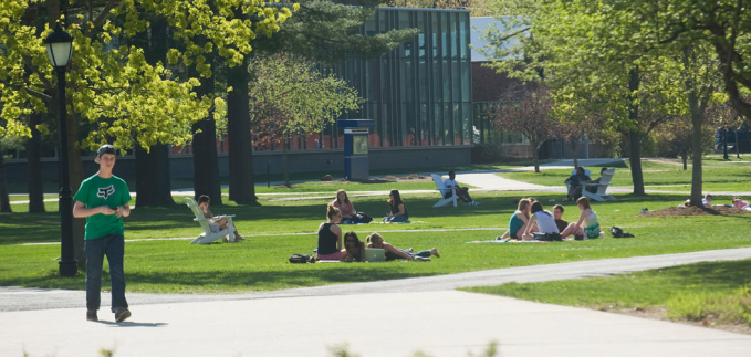 Students on campus green