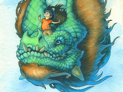 Boy riding dragon