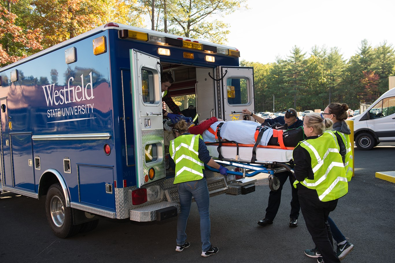 Westfield State EMT Load Patient into Ambulance