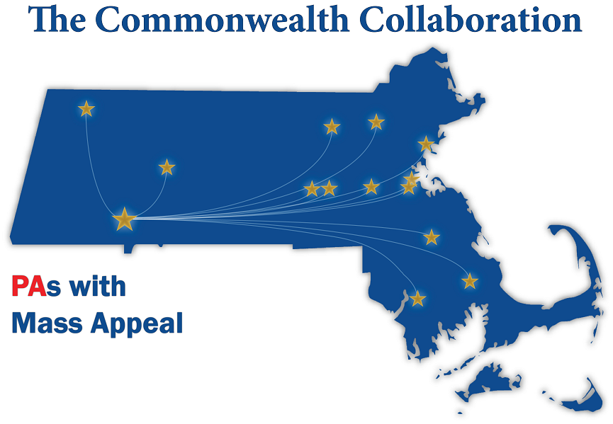massachusetts state map with stars at the 4 year universities and colleges