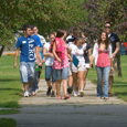 Students walking on the green
