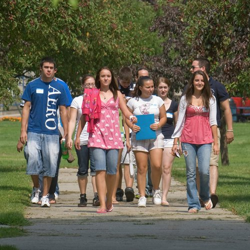 First year students walking