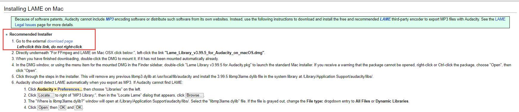 download lame audacity mac